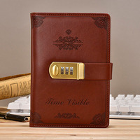 Hot Vintage Notebook leather Diary with lock code password thickened Note book B6 notepad 130 sheets office supplies gift