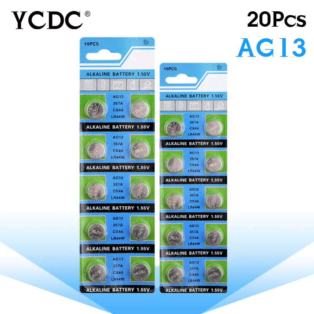 цена YCDC 20x1.5V AG13 Battery LR44 L1154 RW82 RW42 SR1154 SP76 A76 357A ag13 pila lr44 SR44 AG 13 Alkaline Button Cell Coin Battery