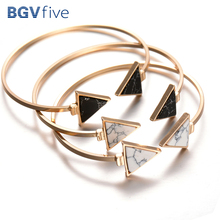 Open Bangle Triangle Marbling Shining Stone Bracelet Jewelry