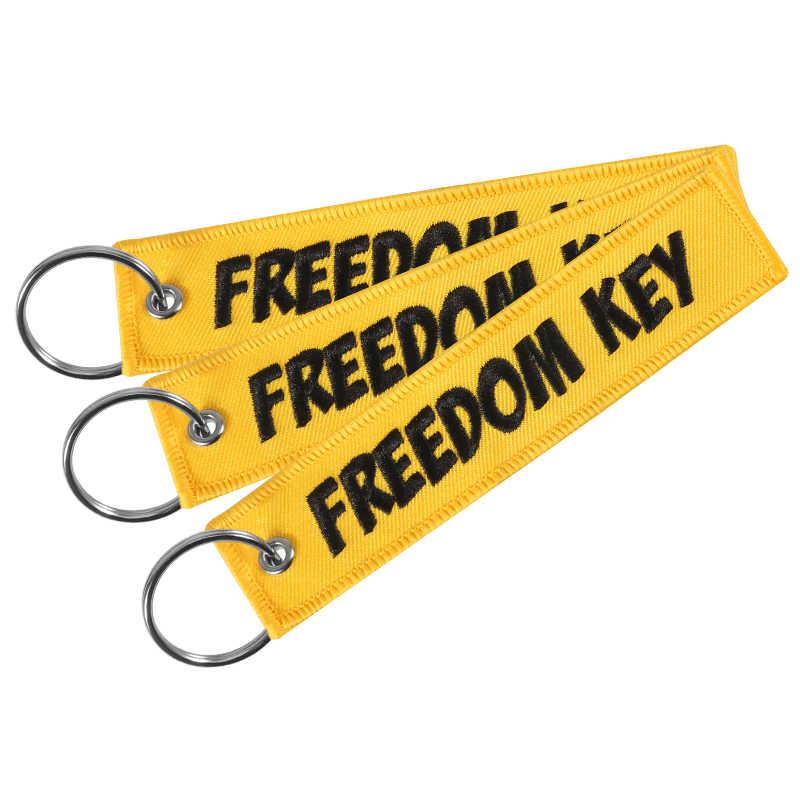 دراجة نارية سيارة المفاتيح الحرية مفتاح العلامة التطريز الأصفر مفتاح سلسلة مفتاح حامل OEM حلقة رئيسية للهدايا الطيران مجوهرات llavero