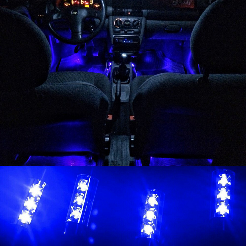 Attractive 4x 3LED Car Charge 12V 4W Glow Interior Decorative 4in1 Atmosphere Blue Light Lamp Atmosphere Inside Foot Lamp AJ high quality 4pcs 3 led universal car accessory glow interior decorative atmosphere light purple orange lamp