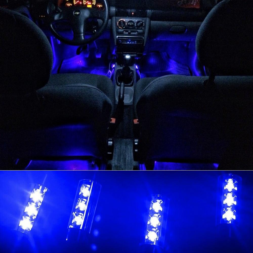 Привлекательные 4х 3 светодиодные обязанность автомобиля 12 В 4 Вт накаливания интерьер декоративные 4на1 атмосфера синий свет лампы атмосфера внутри ноги Лампа дя