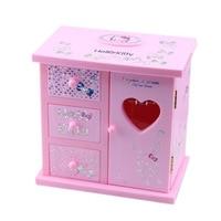 Creative Ballerina Girl Makeup Mirror Music Box Ornaments Wardrobe Cabinet Shape Jewelry Box Music Box Home Decor Birthday Gifts