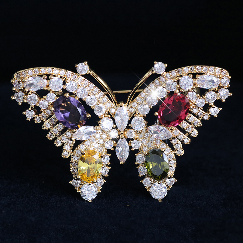 Beautiful Butterfly Brooches Pins For Women Fashion Luxury Rhinestone Crystal Insect Brooch Pin Jewelry broche femme bijoux in Brooches from Jewelry Accessories
