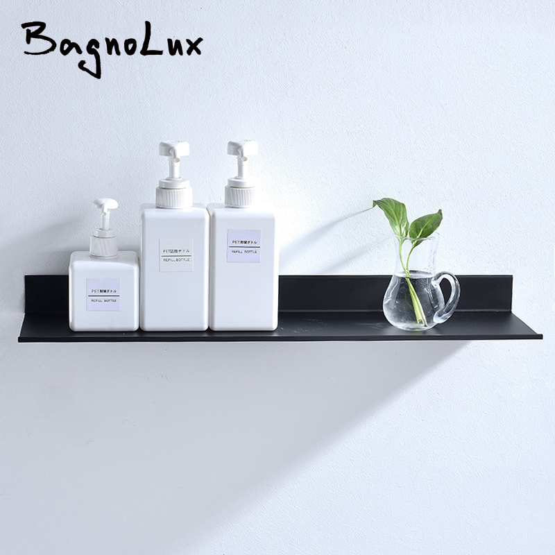 Wholesale Promotion Bathroom Accessories 30-60cm Modern Matt Black Bathroom Shelves Kitchen Wall Shelf Shower Bath Storage Rack