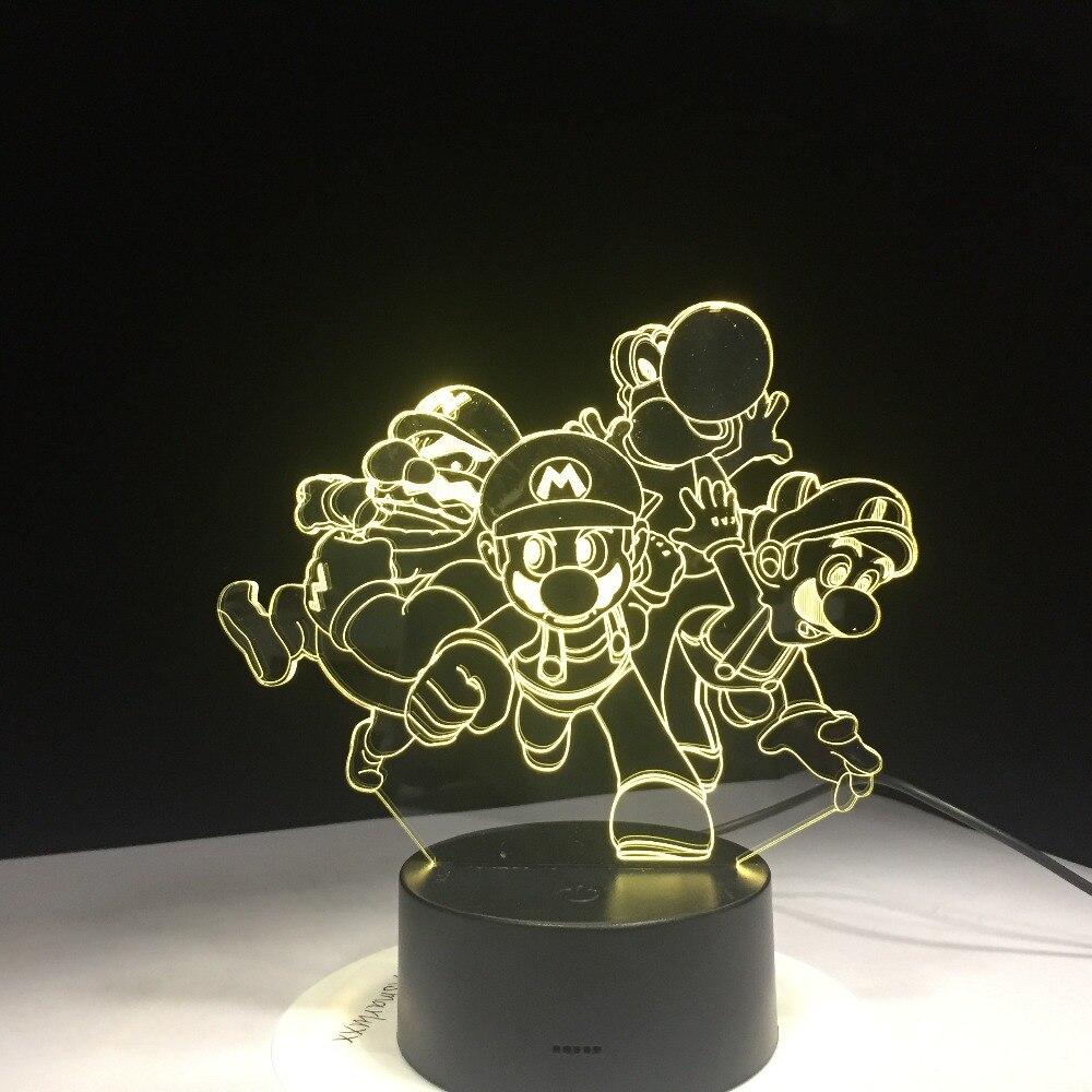 Super Mario Bros Luigi Toad Dragon 3D лампа USB акриловый супер подарок для детей, детская лампа для сна, Детская лампа, настольная лампа