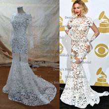 Beyonce Jewel Decote Appliqued Manga Comprida Lace Sheer Backless Vestidos de Celebridades(China (Mainland))