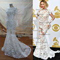 Beyonce Jewel Decote Appliqued Manga Comprida Lace Sheer Backless Vestidos de Celebridades