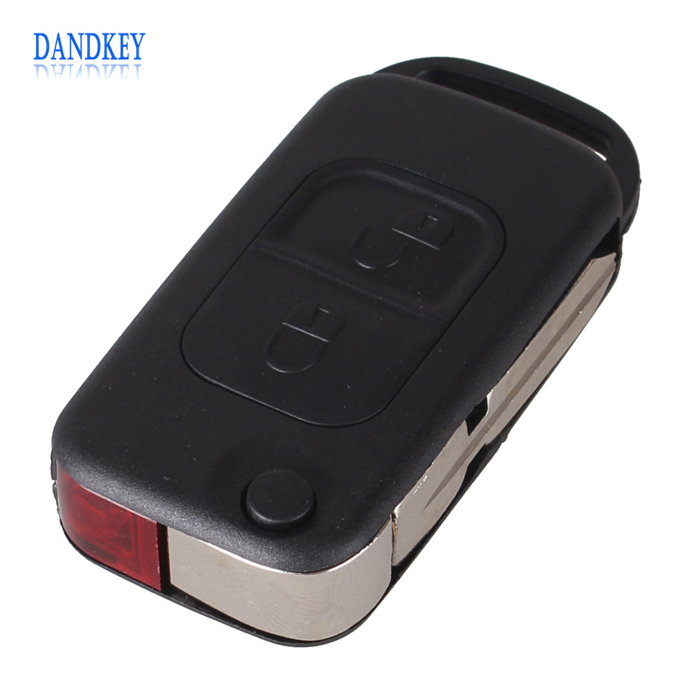 Dandkey 10PCS/LOT Replacement 2 Button For Mercedes Benz A C E S Flip Folding Key Shell Case Entry Remote Key Cover