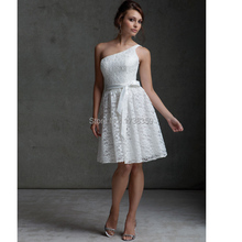 2015 Newest One Shoulder Tie Sash Short Ball Prom Gown Formal Sleeveless Strapless A-Line Bridesmaid Dress Brides Maid Dress B02