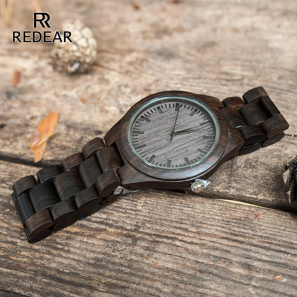 REDEAR Handmade Black Sandalwood Watches Lover's Watches Cool Nature Wood Quartz Automatic Watch in Gift Box To WOMEN