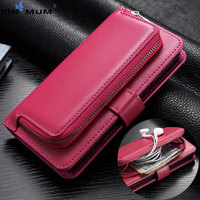 XIN MUM Luxury Flip Cover Zipper Wallet for Samsung Galaxy S9 S8 Plus S7 S6 Edge S5 Note 8 Magnetic Retro Leather Case Pouch