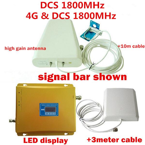 Display LCD GSM de Telefonia móvel Repetidor 1800 MHz Reforço de Sinal/4G LTE DCS Repetidor de Sinal Amplificador com Antena LPDA Completo conjunto