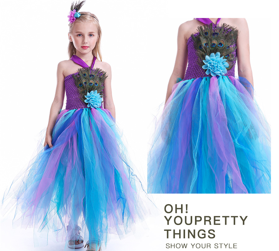 Peacock Feather Girl Tutu Dress Baby Peacock Dress with Hair Accessories  Halloween Pageant Wedding Glam Costume Party Outfit (14)