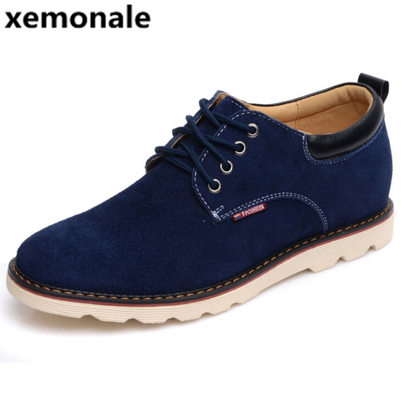 xemonale Highten 6cm Men Casual Shoes Flock Leather Lace ...