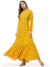 Casual Polka Dot Print Maxi Dress Women Long Sleeves Patchwork Yellow Long Dress Ladies Spring Summer Pleated Beach Dresses yellow pleated design plain cold shoulder long sleeves blouses