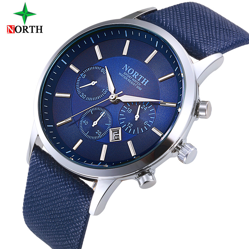 NORTH Men's Wrist Watches Top Brand Luxury Quartz Watch Relojes Hombre Man Watch 2017 Steel Male Clock Men Relogio Masculino unistar luxury nature wooden wrist watches quartz father s day gift top men women watches relojes de madera relogio masculino