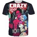 Crazy Love t-shirt dos homens das mulheres Harajuku T camisas quadrinhos Deadpool tshirts verão Hipster 3D T shirt t-shirt