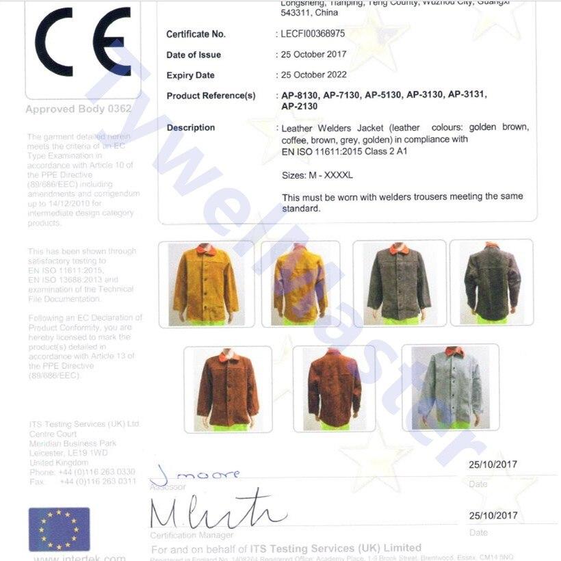 Купить с кэшбэком Welding Jacket Leather Flame/Heat/Abrasion Resistant Hybrid FR and Cowhide Long Sleeve Worker Jacket Apparel for Welding