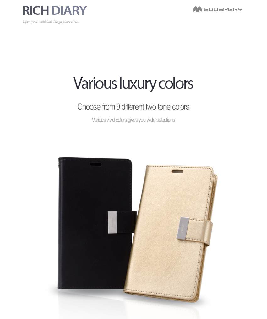 Original Mercury Goospery Rich Diary Wallet Case Cover Tri Fold For Samsung Galaxy S8 Plus Fancy Mint Navy Detail Eng 5