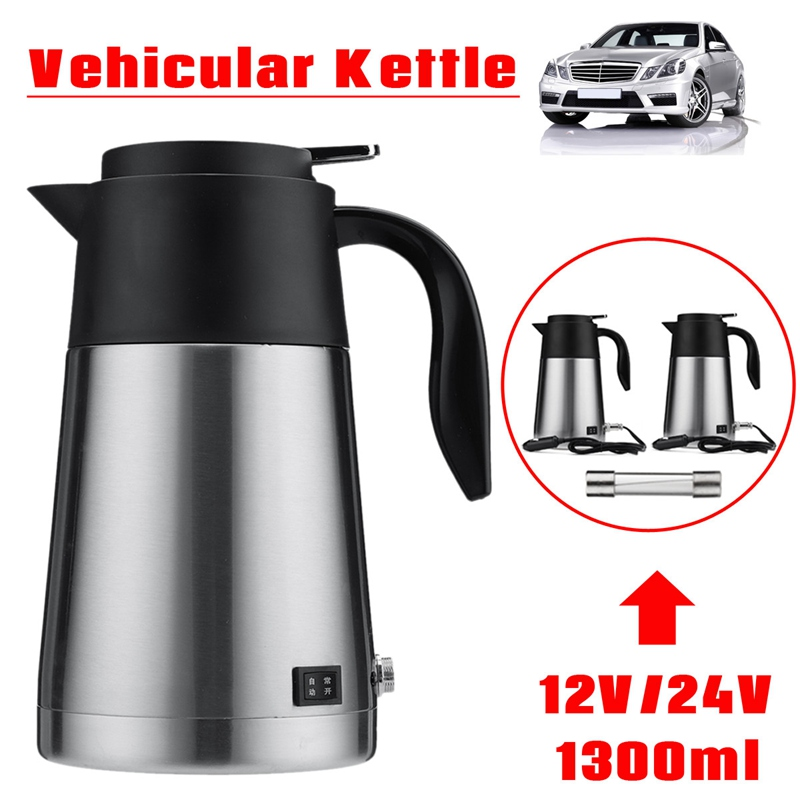 Universal 12V/24V 1300ML Vehicular Kettle Car Electric Pot Stainless Steel With Cigarette Lighter Auto Accessories For Coffee metal auto car cigarette lighter with crystal wine red silver 12v 24v