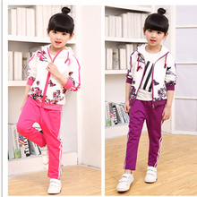 New Girls Hoodies+Pants 2Pcs Sets Spring Autumn Teens Girls Clothes Jacket Floral Sports Sets Suit Children Girls Clothing Sets