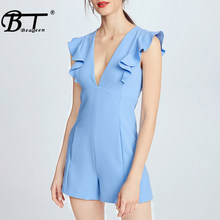 Beateen Vrouwen Speelpakje Casual Blue Sexy V-hals Ruches Korte Jumpsuit Runway Romper Celebrity Party Club Bodysuit 2018 Zomer(China)