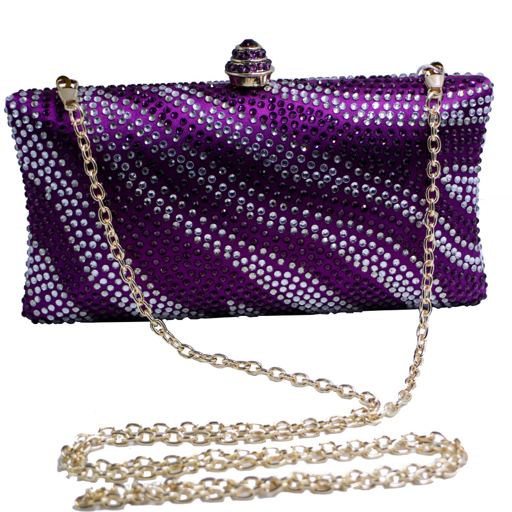 d5357bee33 Factory Wholesale Purple Womens Evening Bag with Rhinestone Crystal Clutch  Purse
