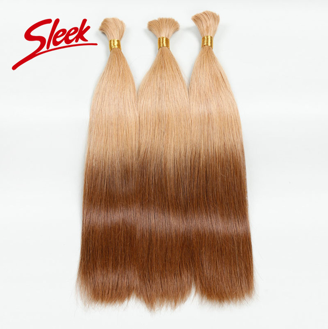 Sleek Straight Ombre Human Hair Colorful Bulk Hair Weaving For White Women Best Brazilian Virgin Hair 3pcs/lot Free Shipping