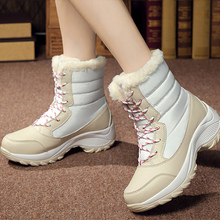 Platform boots woman 2019 winter warm waterproof ankle boots for women plus size 35-42 wedges leather boot ladies shoes Non slip цены онлайн