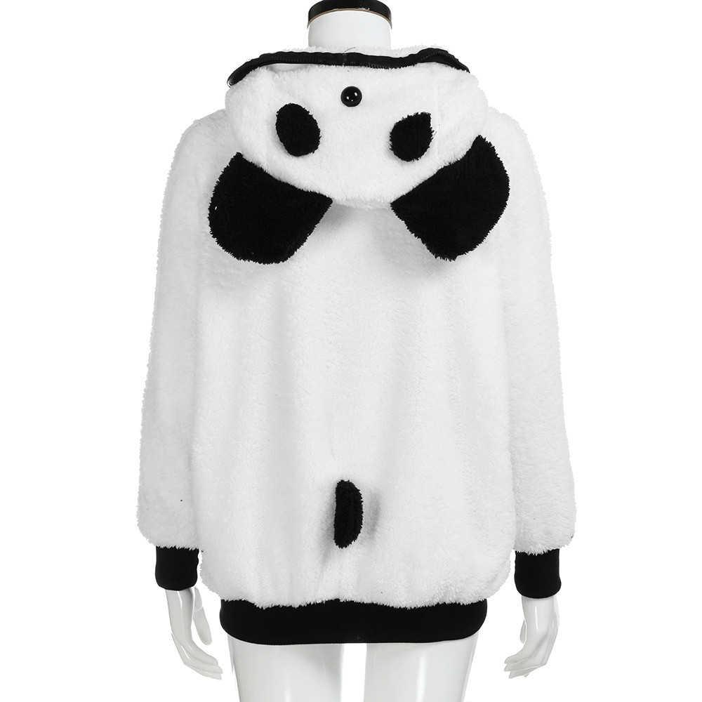 Hoodies moletom macio de pelúcia panda com capuz moletom feminino inverno quente com zíper casaco branco jaqueta i28t transporte da gota