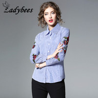 LADYBEES Rose Embroidery Blouse Women Striped Floral Printed Shirts Long Sleeve Blusas White Clothes 2018 Spring