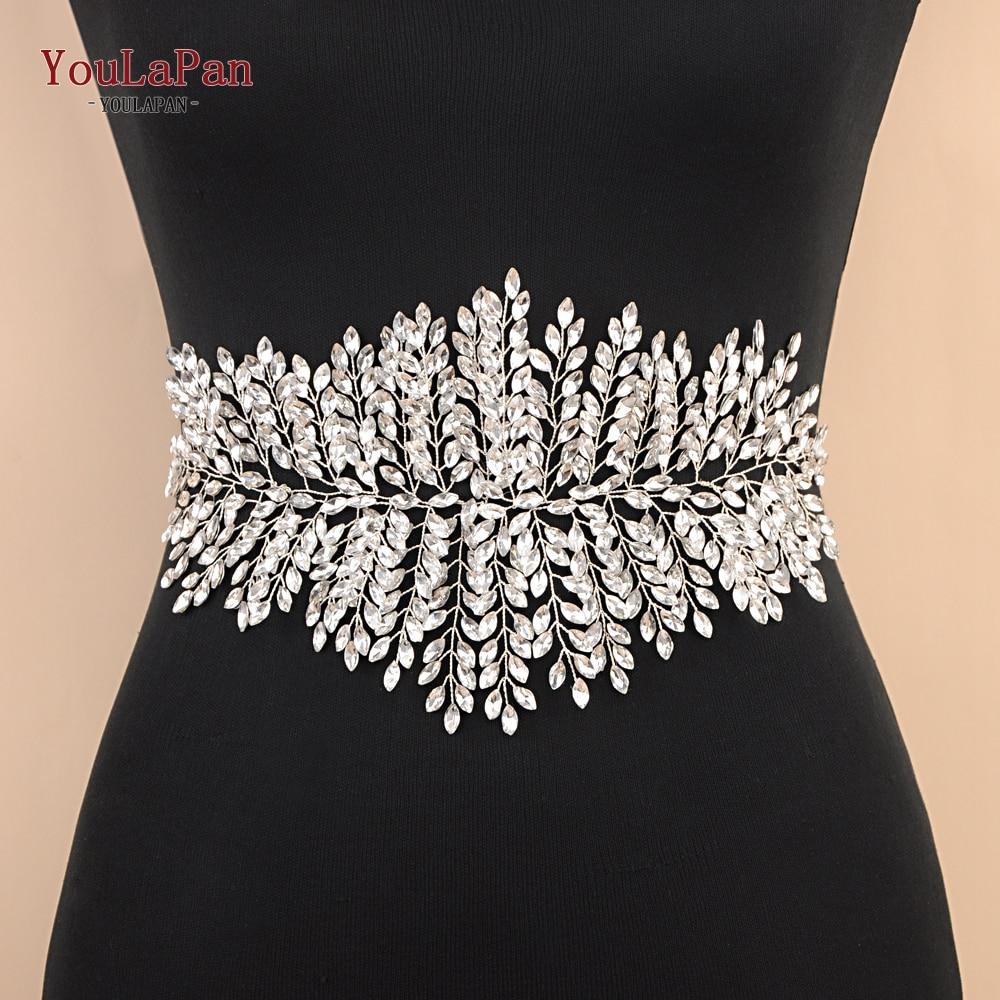 YouLaPan SH238 Fast Delivery Sliver Diamond Wedding Belts Wedding Dress Belts Accessories Rhinestone Bridal Sash Belt