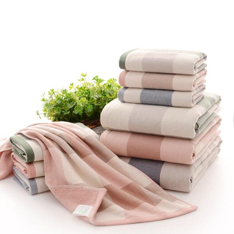 Cotton Thick Plaid Beach Bath Towels Pink Beach Towel