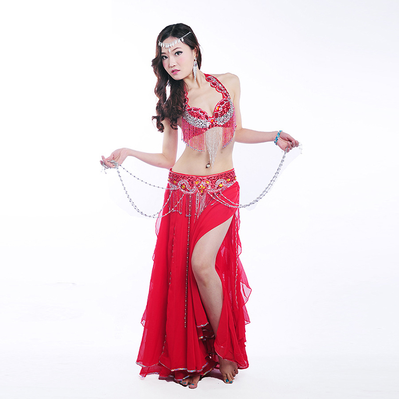 2019 New Belly Dancing Costume Indian Oriental Dance Performance Costume 3 Sets Beaded  Bra Long Skirt Belt Bra Skirt Belt