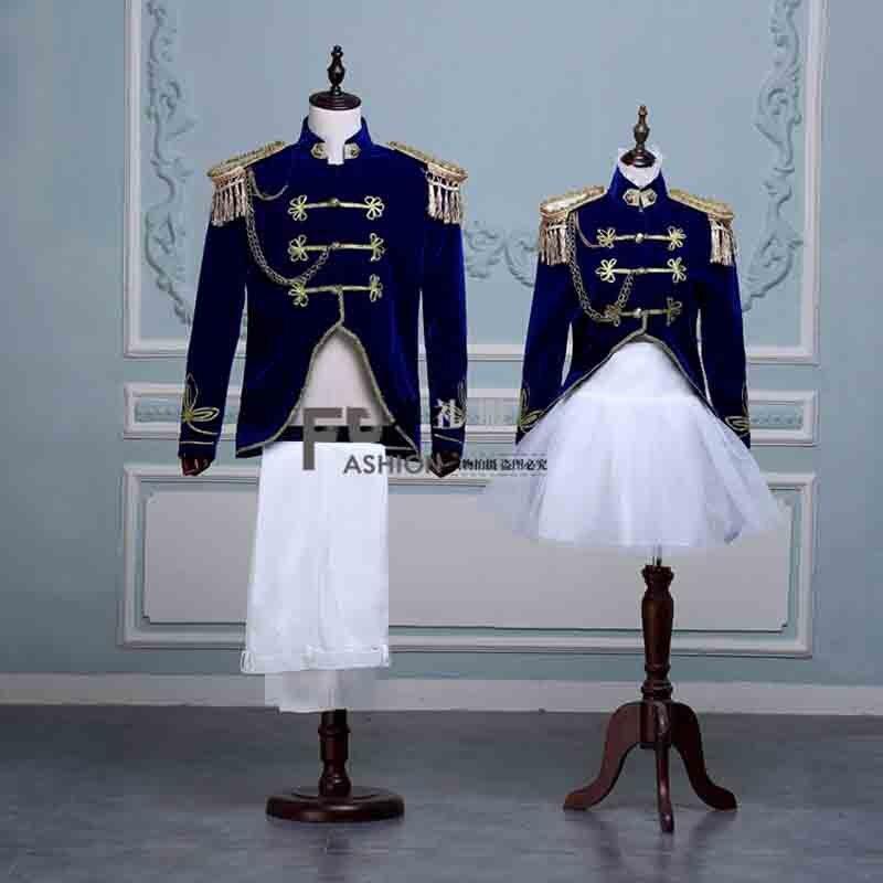 2 pièces Costume Couples Deluxe médiéval victorien Vintage bleu Blazer Costume Halloween Costume fête tenue pour hommes/femmes grande taille