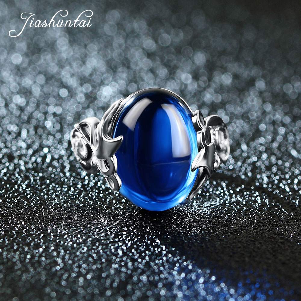 цены JIASHUNTAI Vintage 925 Sterling Silver Rings Retro Thai Silver Blue Stone Jewelry For Women The Waves Of The Sea