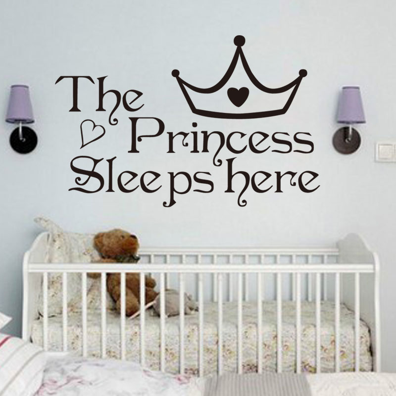 The Princess Sleep Here Vinyl Wall Stickers For Kids Room Wall Decals Home Decor Wall Art Quote Bedroom Wall paper