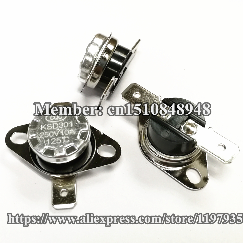 Thermostat temperature switch KSD301 125 degrees 250V 10A 125 degrees 125C Normally closed in Switches from Lights Lighting
