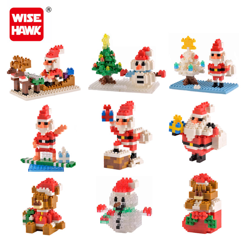 WiseHawk New Arrival Christmas Gift Nanoblocks Santa Claus Scene 3D Diamond Assemble Building Brick Educational Toy For Children wisehawk nano star wars yoda building blocks big size characters figure educational toys diy assembly micro brick christmas gift