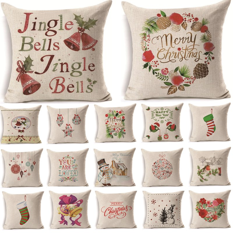 1Pcs 43*43cm Christmas Jingle Bells Pattern Cotton Linen Throw Pillow Cushion Cover Car Home Sofa Decorative Pillowcase 40479