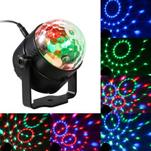 Voice Activated Stage Light DC5V 3W Mini RGB LED Car Magic Ball Light USB Powered Operated Colorful Disco DJ Lighting(China)