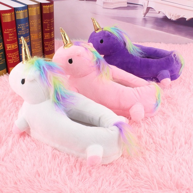 d217ccfce516 Tolln Unicorn Slippers Winter Warm Home Slipper For Women Cartoon Soft  Indoor Woman Men s Shoes Fur Mules Slippers Size 5-9.5