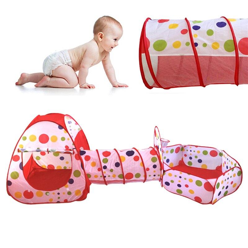 Portable grand Tube de piscine tipi enfants jouent tente 3 pièces Pop-up tente de jeu pour enfants jouer maison intérieur extérieur Tunnel bébé jouet