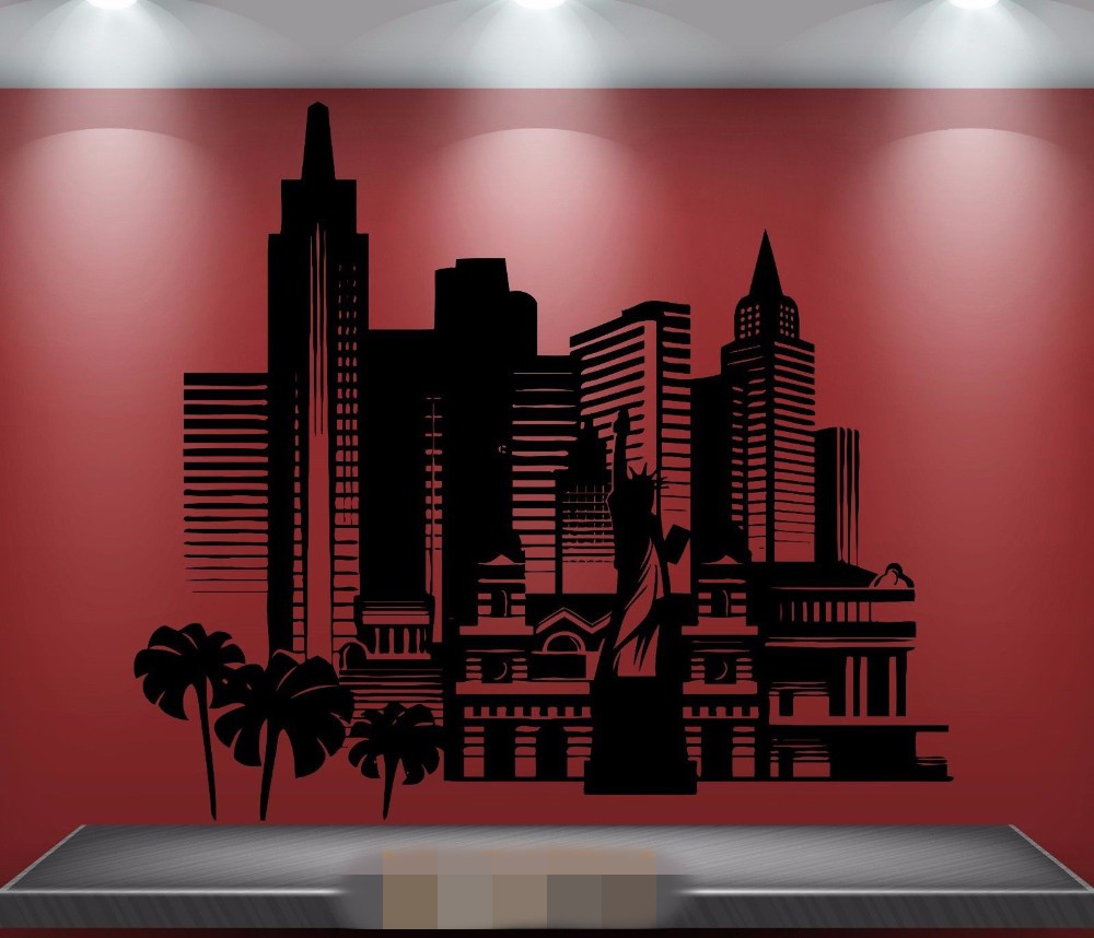 Free Shipping America City Skyscrapers Scenery Landmark Wall Sticker Removable Vinyl Transfer Stencil Mural Home Room Decor ...