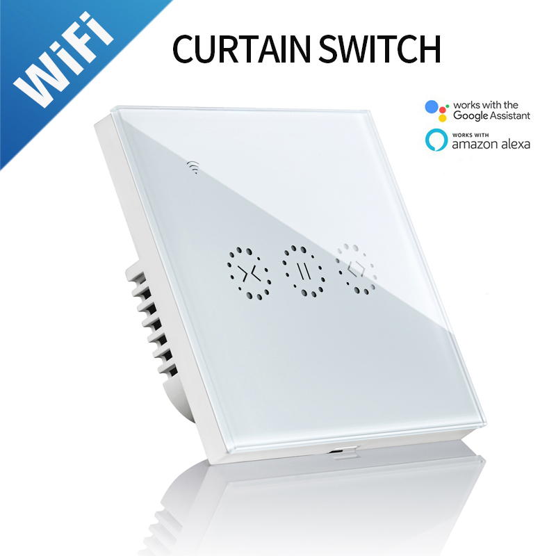 Wifi Touch Curtain Switch Wall Switch Voice Control By Alexa / Google Ewelink App Control For Electric Curtain Motor Smart Home