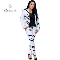 Fashion White Suit 2017 Women Long Sleeve Set Business Suits OL Pants And Blazer Sets Two