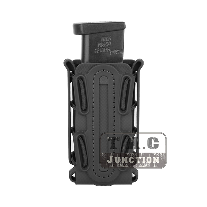 Tactical Black Scorpion Soft Shell Pistol Single Stack & Double Stack Tall 9mm .45 Magazine Pouch Carrier w/ Duty Belt Loop