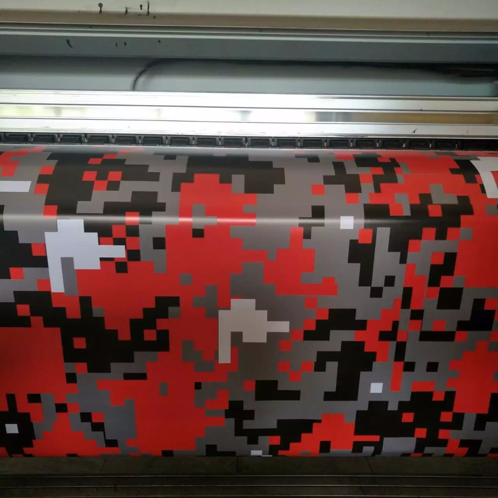 red digital camo car wrap film camouflage digital tiger truck boat wrapping covering foil size. Black Bedroom Furniture Sets. Home Design Ideas