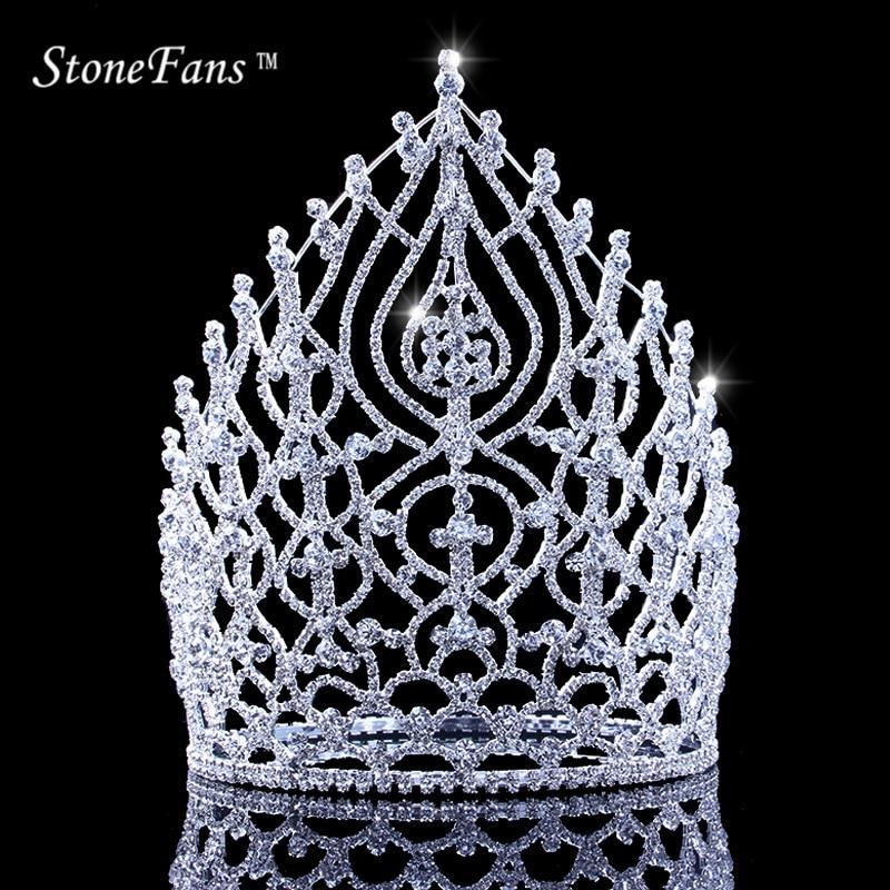 StoneFans Rhinestone Wedding Hair Accessories Jewelry Elegant Miss Crown For Women Bridal Big Crystal Crowns And